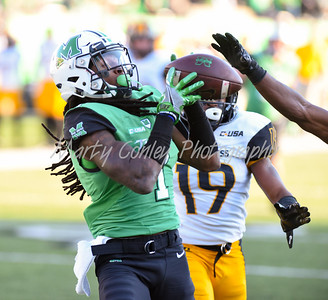 Marshall's Willie Johnson pulls in a pass on Saturday against Southern Mississippi.  MARTY CONLEY/ FOR THE DAILY INDEPENDENT