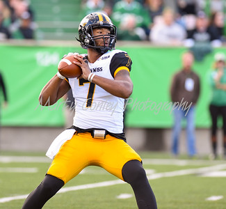 Southern Mississippi quarterback, Kwadra Griggs throws a pass on Saturday afternoon against Marshall.  MARTY CONLEY/ FOR THE DAILY INDEPENDENT