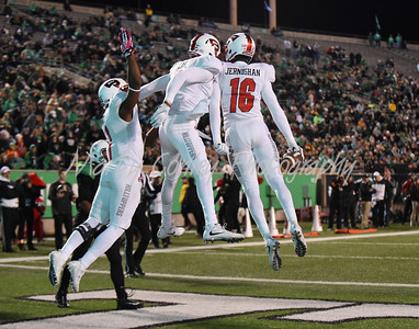 The Western Kentucky Hilltoppers celebrate in the endzone after a touchdown against Marshall on Saturday.  MARTY CONLEY/ FOR THE DAILY INDEPENDENT