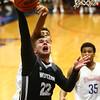 12-5-17<br /> Kokomo vs Western boys basketball<br /> Western's Matt Morgan looks to the basket for a shot and gets fouled.<br /> Kelly Lafferty Gerber | Kokomo Tribune
