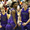 12-1-17<br /> Northwestern vs Western boys basketball<br /> Tayson Parker, center, celebrates with teammates after his dunk in the last seconds of the game.<br /> Kelly Lafferty Gerber | Kokomo Tribune