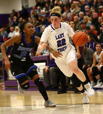 12-14-17<br /> Northwestern vs Heritage Christian girls basketball<br /> Taylor Boruff dribbles down the court.<br /> Kelly Lafferty Gerber | Kokomo Tribune