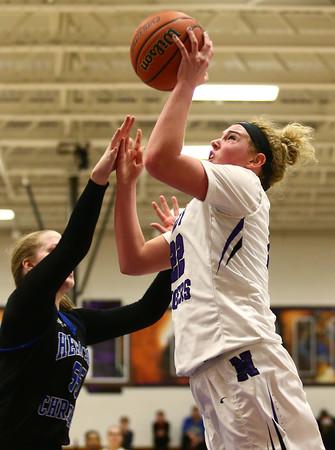 12-14-17<br /> Northwestern vs Heritage Christian girls basketball<br /> Taylor Boruff shoots.<br /> Kelly Lafferty Gerber | Kokomo Tribune