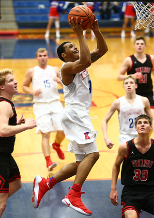 12-16-17<br /> Kokomo vs Huntington North boys basketball<br /> Trajan Deckard goes for the basket.<br /> Kelly Lafferty Gerber | Kokomo Tribune