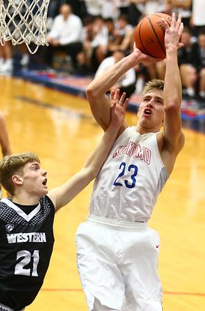 12-5-17<br /> Kokomo vs Western boys basketball<br /> Kokomo's Anthony Barnard puts up a shot.<br /> Kelly Lafferty Gerber | Kokomo Tribune