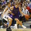 12-1-17<br /> Northwestern vs Western boys basketball<br /> NW's Logan Bowser dribbles down the court.<br /> Kelly Lafferty Gerber | Kokomo Tribune