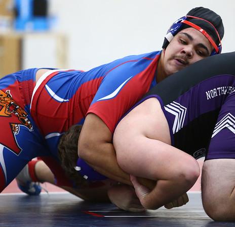 12-19-17<br /> Kokomo vs Northwestern wrestling<br /> Kokomo's Anthony Fox defeats NW's Anthony Rodriguez in the 285.<br /> Kelly Lafferty Gerber | Kokomo Tribune