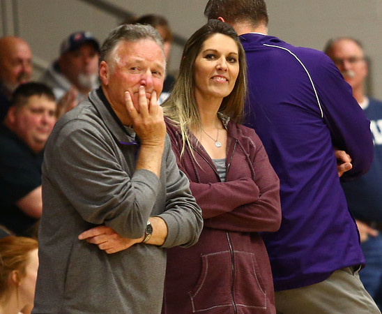 12-14-17<br /> Northwestern girls basketball coaches<br /> Dave Wise and daughter Kathie Layden watch as the visiting team is announced.<br /> Kelly Lafferty Gerber | Kokomo Tribune