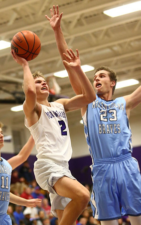 12-15-17<br /> Northwestern vs Maconaquah boys basketball<br /> NW's Logan Bowser goes up for a shot.<br /> Kelly Lafferty Gerber | Kokomo Tribune