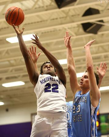 12-15-17<br /> Northwestern vs Maconaquah boys basketball<br /> NW's Tayson Parker goes up for a shot.<br /> Kelly Lafferty Gerber | Kokomo Tribune