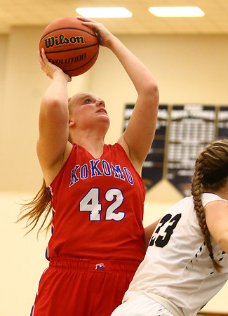 12-2-17<br /> Kokomo vs Peru girls basketball<br /> Madison Wood puts up a shot.<br /> Kelly Lafferty Gerber | Kokomo Tribune