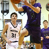 12-1-17<br /> Northwestern vs Western boys basketball<br /> NW's Ben Harris goes to the basket.<br /> Kelly Lafferty Gerber | Kokomo Tribune