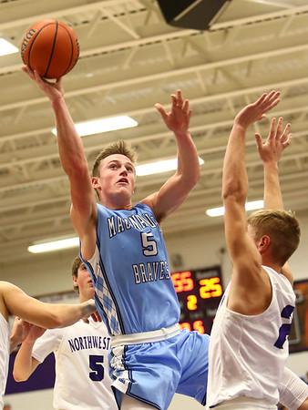 12-15-17<br /> Northwestern vs Maconaquah boys basketball<br /> Mac's Ethan Larason goes to the basket.<br /> Kelly Lafferty Gerber | Kokomo Tribune