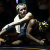 2-4-17<br /> Regional wrestling<br /> Eastern's Tytus Morrisett and Peru's Torion'Ja Forrest in the 132.<br /> Kelly Lafferty Gerber | Kokomo Tribune