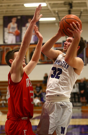2-2-17<br /> Northwestern vs West Lafayette boys basketball<br /> NW's Noah Dowden shoots.<br /> Kelly Lafferty Gerber | Kokomo Tribune