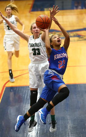2-3-17<br /> Kokomo vs Zionsville girls basketball<br /> Kokomo's Jayda Andrews puts up a shot.<br /> Kelly Lafferty Gerber | Kokomo Tribune