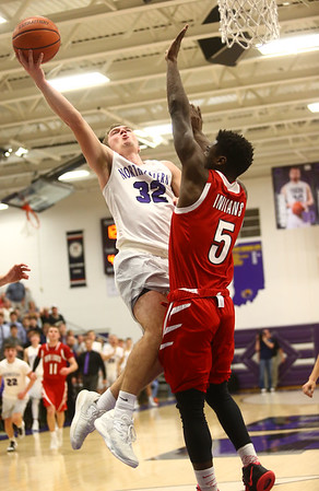 2-17-17<br /> Northwestern defeats Twin Lakes 56-48 for the Hoosier Conference Championship<br /> NW's Noah Dowden goes up for a shot.<br /> Kelly Lafferty Gerber | Kokomo Tribune