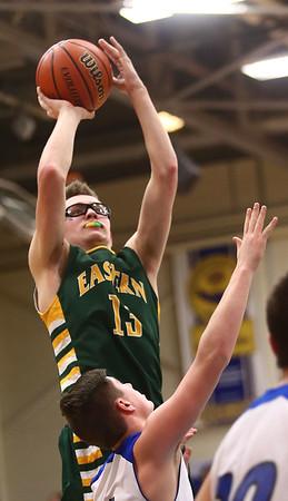 2-7-17<br /> Tipton vs Eastern boys basketball<br /> Eastern's Nolan Smalley puts up a shot.<br /> Kelly Lafferty Gerber   Kokomo Tribune