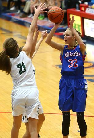 2-3-17<br /> Kokomo vs Zionsville girls basketball<br /> Kokomo's Brittany Barnard shoots.<br /> Kelly Lafferty Gerber | Kokomo Tribune