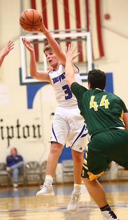 2-7-17<br /> Tipton vs Eastern boys basketball<br /> Tipton's Grant Shively throws a pass.<br /> Kelly Lafferty Gerber | Kokomo Tribune