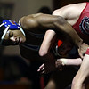 2-4-17<br /> Regional wrestling<br /> Kokomo's Jabin Wright and Miss. Courtland Smith in the 120.<br /> Kelly Lafferty Gerber | Kokomo Tribune