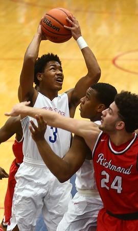 2-10-17<br /> Kokomo vs Richmond boys basketball<br /> Kokomo's Keenen Wheeler shoots.<br /> Kelly Lafferty Gerber | Kokomo Tribune