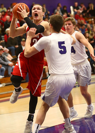 2-17-17<br /> Northwestern defeats Twin Lakes 56-48 for the Hoosier Conference Championship<br /> TL's Bryce Bennington goes up for a shot.<br /> Kelly Lafferty Gerber | Kokomo Tribune
