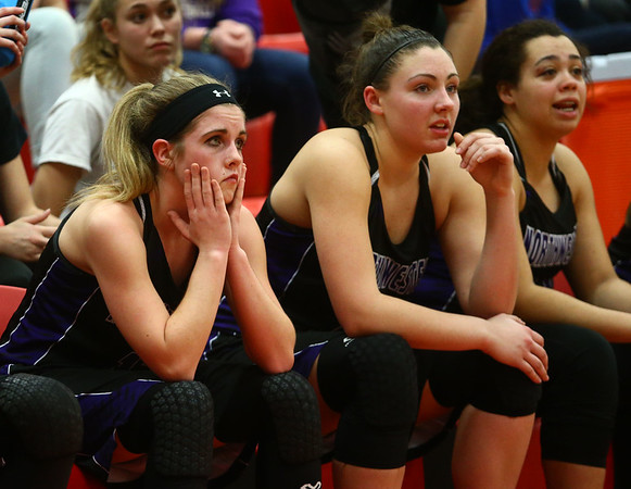 2-11-17<br /> Northwestern vs South Bend St. Joseph girls bball regional<br /> Brianna Hahn reacts to the 57-49 Northwestern loss as the final seconds tick by in the regional championship.<br /> Kelly Lafferty Gerber | Kokomo Tribune