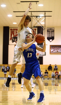 2-21-17<br /> Western vs Carroll boys basketball<br /> Carroll's Emmitt Zimmerman tries to shoot.<br /> Kelly Lafferty Gerber | Kokomo Tribune