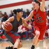 2-22-17<br /> IUK vs Rio Grande girls basketball<br /> IUK's Deja Felder dribbles around Rio Grande's Abby Wendel.<br /> Kelly Lafferty Gerber | Kokomo Tribune