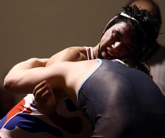 2-4-17<br /> Regional wrestling<br /> Kokomo's Gavin Herrera and Mac's Aaron Sedwick in the 195.<br /> Kelly Lafferty Gerber | Kokomo Tribune
