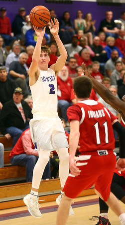 2-17-17<br /> Northwestern defeats Twin Lakes 56-48 for the Hoosier Conference Championship<br /> NW's Collin Hodson shoots a three-pointer.<br /> Kelly Lafferty Gerber | Kokomo Tribune
