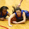 2-3-17<br /> Kokomo vs Zionsville girls basketball<br /> Kokomo's Tionna Brown and Olivia Branch try to get a loose ball.<br /> Kelly Lafferty Gerber | Kokomo Tribune