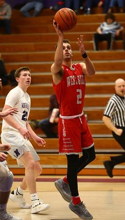 2-2-17<br /> Northwestern vs West Lafayette boys basketball<br /> WL's Charlie Nycz eyes the basket for a shot.<br /> Kelly Lafferty Gerber | Kokomo Tribune