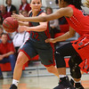 2-22-17<br /> IUK vs Rio Grande girls basketball<br /> IUK's Mackenzie Johnson dribbles down the court.<br /> Kelly Lafferty Gerber | Kokomo Tribune