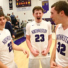 2-17-17<br /> Northwestern defeats Twin Lakes 56-48 for the Hoosier Conference Championship<br /> Peyton Hawk, center, celebrates with Eli Dubbels, left, and Noah Dowden after NW's win.<br /> Kelly Lafferty Gerber | Kokomo Tribune