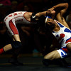 2-4-17<br /> Regional wrestling<br /> Kokomo's Jabin Wright and Miss. Courtland Smith in the 120.<br /> Kelly Lafferty Gerber | Kokomo Tribune