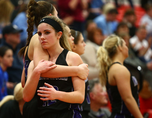2-11-17 Northwestern vs South Bend St. Joseph girls bball regional Brianna Hahn reacts to the 57-49 Northwestern loss as the final seconds tick by in the regional championship. Kelly Lafferty Gerber | Kokomo Tribune