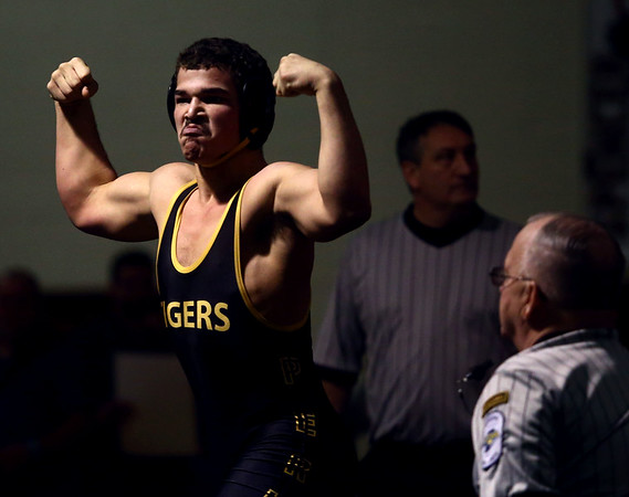 2-4-17<br /> Regional wrestling<br /> Peru's Jordan Rader celebrates after his win over Oak Hill's Brody Hardcastle in the 170.<br /> Kelly Lafferty Gerber | Kokomo Tribune