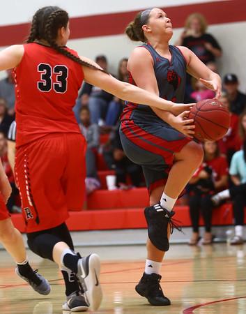 2-22-17<br /> IUK vs Rio Grande girls basketball<br /> IUK's Mackenzie Johnson gets fouled as she goes up to the basket.<br /> Kelly Lafferty Gerber | Kokomo Tribune