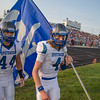 Alec High and Drake Tomasi lead the Blazers out on to the field