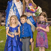 Homecoming King Matthew Mozingo and Queen Lauren Fridley with the crown and flower holders