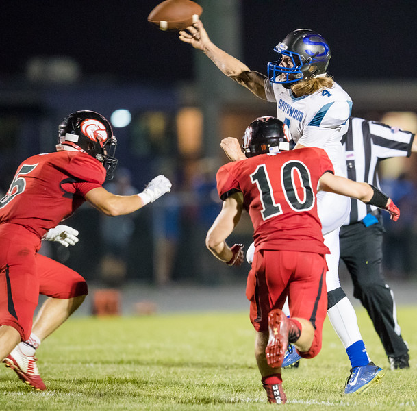 Trenton Morris and Chandler Breeden both close in on Alec High forcing a quick pass late in the fourth quarter