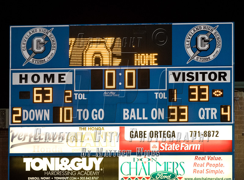 High School Varsity Football. Cibola Cougars at Cleveland Storm. October 13, 2017.