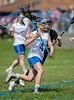 Girls High School JV Lacrosse. Corning Hawks at Horseheads Blue Raiders. April 12, 2017.