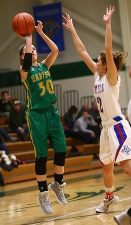 1-31-17<br /> Eastern vs Elwood girls basketball<br /> Eastern's McKenzie Cooper shoots.<br /> Kelly Lafferty Gerber   Kokomo Tribune