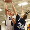 1-3-17<br /> Northwestern vs Central Catholic boys basketball<br /> NW's Jay Pike puts up a shot.<br /> Kelly Lafferty Gerber | Kokomo Tribune