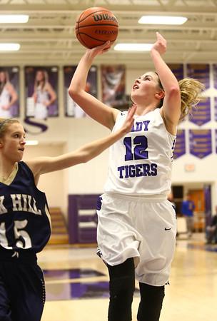 1-11-17<br /> Northwestern vs Oak Hill girls basketball<br /> NW's Brianna Hahn goes up for a shot.<br /> Kelly Lafferty Gerber | Kokomo Tribune