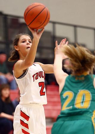 1-7-17<br /> Eastern vs Taylor girls basketball<br /> Taylor's Alison Pemberton shoots.<br /> Kelly Lafferty Gerber | Kokomo Tribune