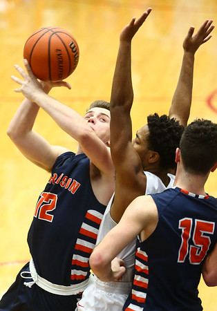 1-13-17<br /> Kokomo vs Harrison boys basketball<br /> Harrison's Jack Mathew looks over Kokomo's defense toward the basket.<br /> Kelly Lafferty Gerber   Kokomo Tribune